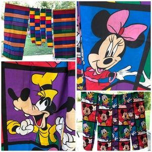 Vtg 10 pc Disney Mickey Mouse Color Block Curtains